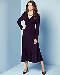 Damson Fluted Hem Wrap Dress