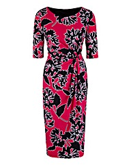 Petite Pink Print Twist Front Dress