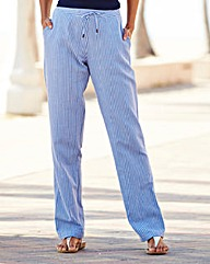 Stripe Linen Mix Trousers Extra Long