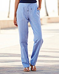 Stripe Linen Mix Trousers Regular