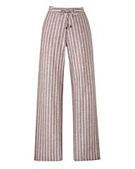 Stripe Linen Mix Trousers Long