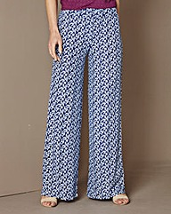 Print Wide Leg Jersey Trousers 25in
