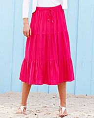 Linen Mix Tiered Midi Skirt