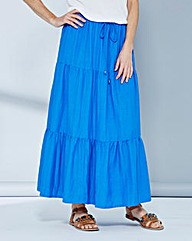 Linen-Mix Tiered Midi Skirt
