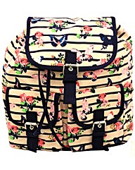 Lili B Stripe & Floral Print Backpack