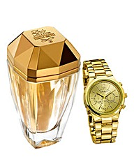 Lady Million Eau My Gold 30ml & Watch