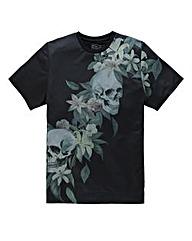 Label J Skull Lily Print T-Shirt L
