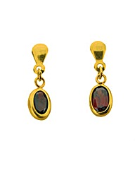 9ct Yellow Gold Red Garnet Earrings