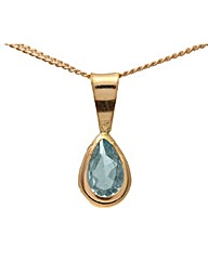 9ct Gold 1Ct Blue Topaz Pendant