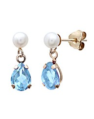 9ct Gold 1.5Ct Blue Topaz Pearl Earrings