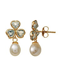 9ct Gold 0.01Ct BlueTopaz Pearl Earrings