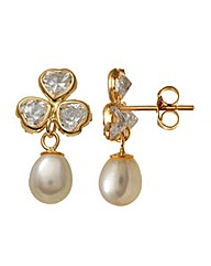 9ct Gold 0.01Ct CZ Pearl Earrings