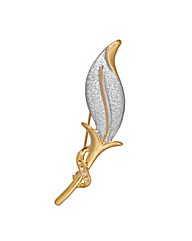 Matt Effect Crystal Leaf Brooch