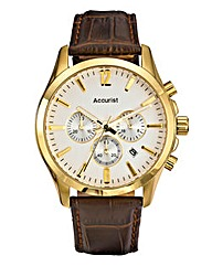 Accurist White Dial Brown Strap Watch