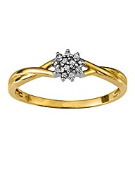 9 Carat Gold Twist Diamond Cluster Ring