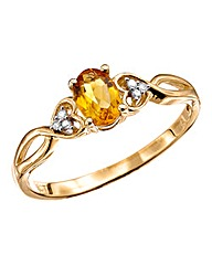 9 Carat Gold Diamond Set Gemstone Ring