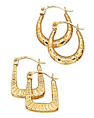 9ct Gold Set of 2 Small Creole Earrings