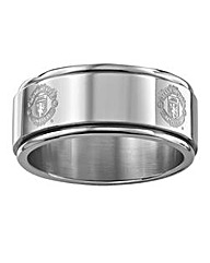 Stainless Steel Crest Football Ring