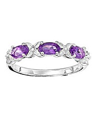 Sterling Silver 3 Stone Amethyst Ring