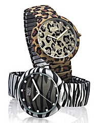 Animal Print Stretch Bracelet Watch
