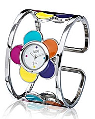 Ladies Flower Bangle Watch