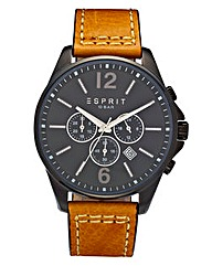 Esprit Leather Strap Multi-dial Watch