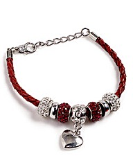 Crystal Bead and Leather Charm Bracelet
