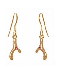 Gold Plated Crystal Wishbone Earrings
