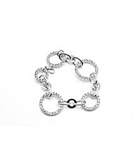 Rhodium Crystal Set Loop Bracelet