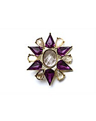 Gold Plated Purple Stone Brooch