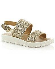 Angram Gold Glitter Strap Sandal