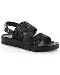 Angram Black Glitter Strap Sandal