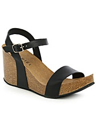 Daniel Ryther Black Corked Wedge Sandal