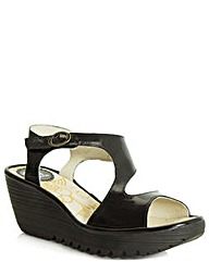 Fly Black Yanca Wedge Sandal