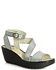 Fly Yesk Silver Wedge Sandal