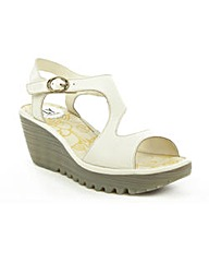 Fly White Yanca Wedge Sandal