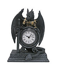 Gothic Dragon in Armour Mantle Clock
