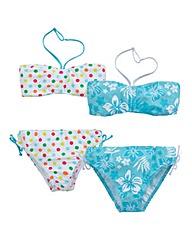 KD EDGE Pack of Two Girls Bandeau Bikini