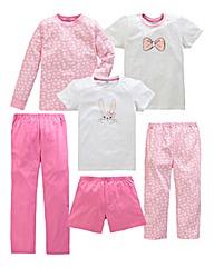 KD Edge Girls Pack of 6 Pyjamas