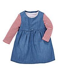 KD Baby Denim Dress and T Shirt Set