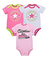 Converse Baby Girls Pack Three Rompers