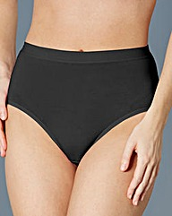 10 Pack Cotton Rich Black Midi Briefs