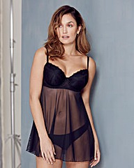 Florence Embroidered Black Babydoll
