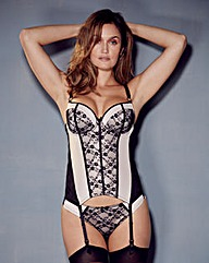 Fleur Black/Blush Basque and Thong Set