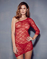 Katrina Lace Red Asymmetric Dress