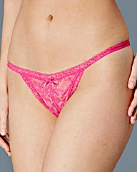 2 Pack Bella Black/Pink Crotchless Thong