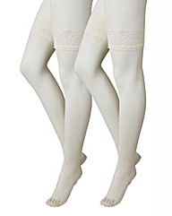 2 Pack Lace Top Ivory Stockings