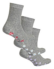 3 Pack Grey Footbed Ankle Socks