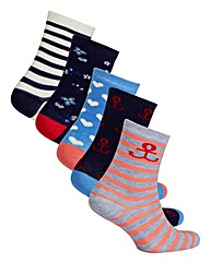 5 Pack Nautical Ankle Socks