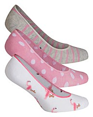 3 Pack Assorted Flamingo Footsie Socks